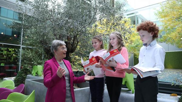 Minister Zappone with three children at the launch of the Key Findings
