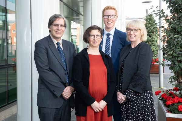 "Seán Lyons, Samantha Smith, Brendan Walsh and Maev-Anne Wren, some of the authors of ""An analysis of the effects on Irish hospital care of the supply of care inside and outside the hospital"". They are pictured at a healthcare conference held by the ESRI on 24 September 2019."