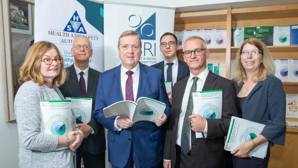 Minister Pat Breen, Sharon McGuinness, CEO of the Health and Safety Authority, ESRI Director Alan Barrett and ESRI researchers at the launch of new research on the ageing workforce on 1 October 2019