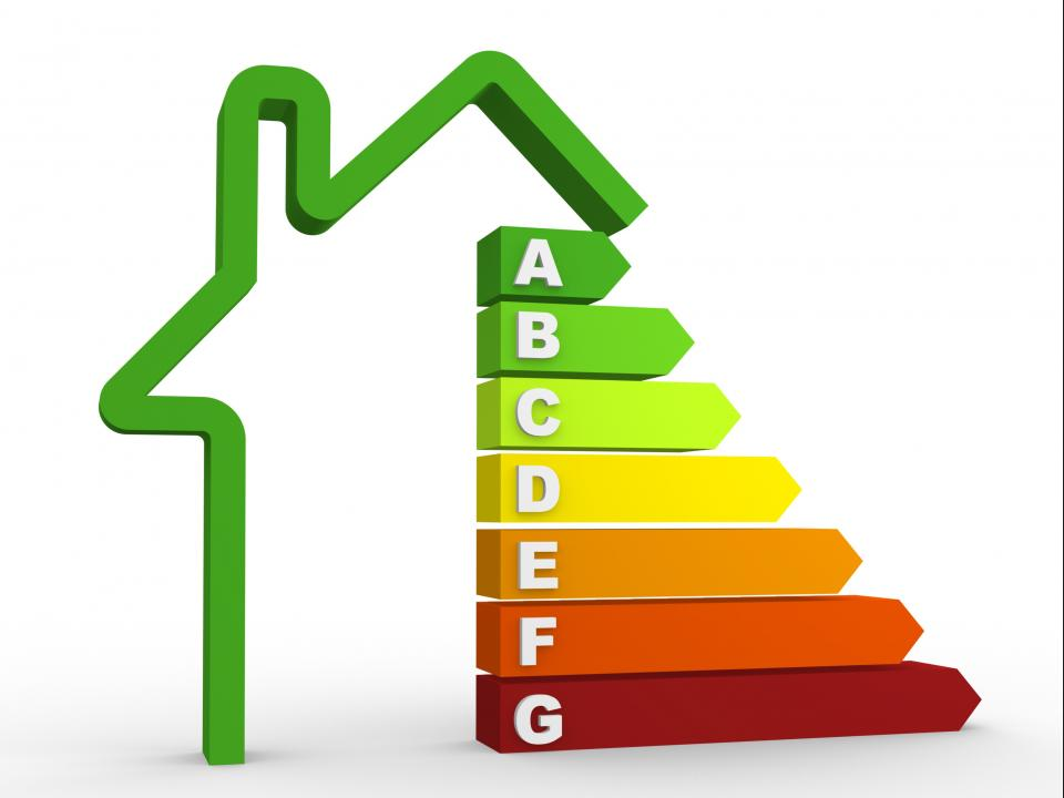 Image of building energy rate from an A rating to G rating