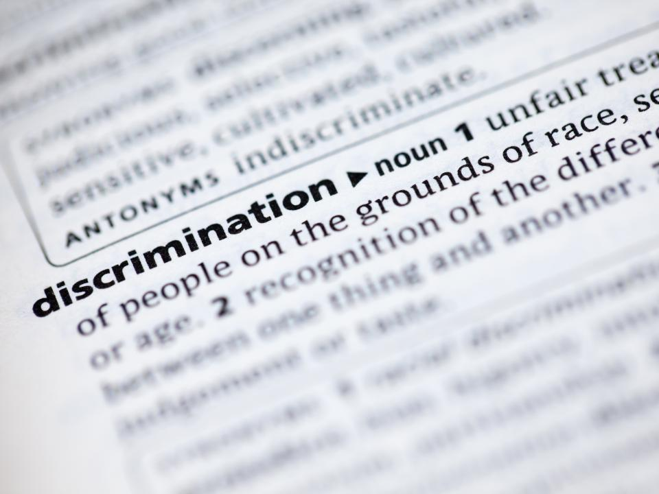 Dictionary showing the definition of discimination