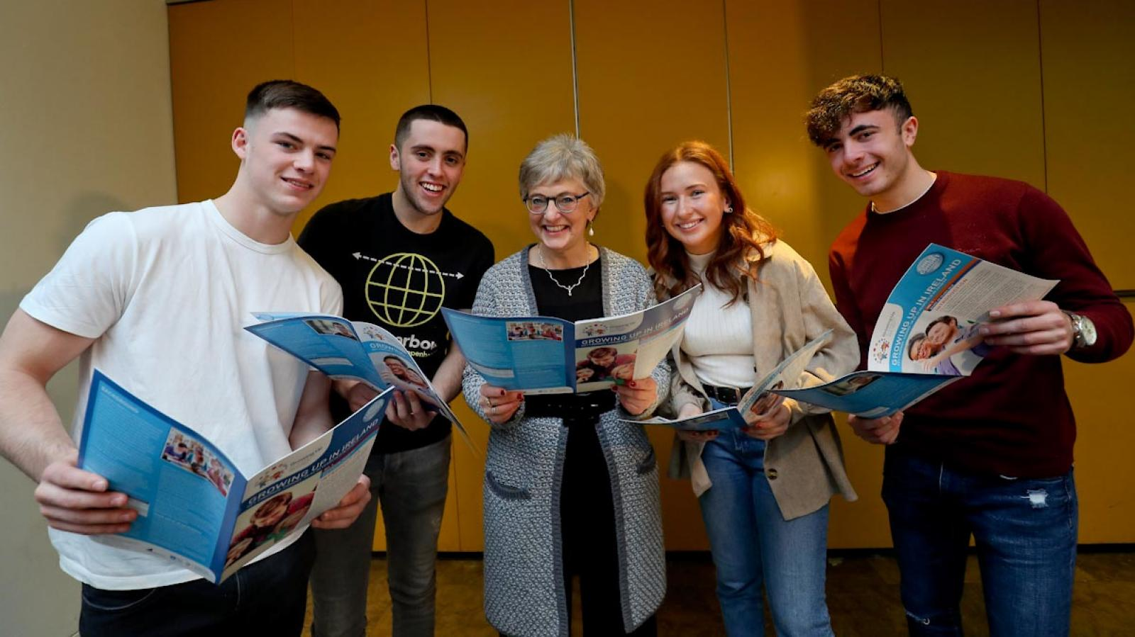 Minister Katherine Zappone with young people at the launch of Growing Up in Ireland research on the lives of 20-year-olds
