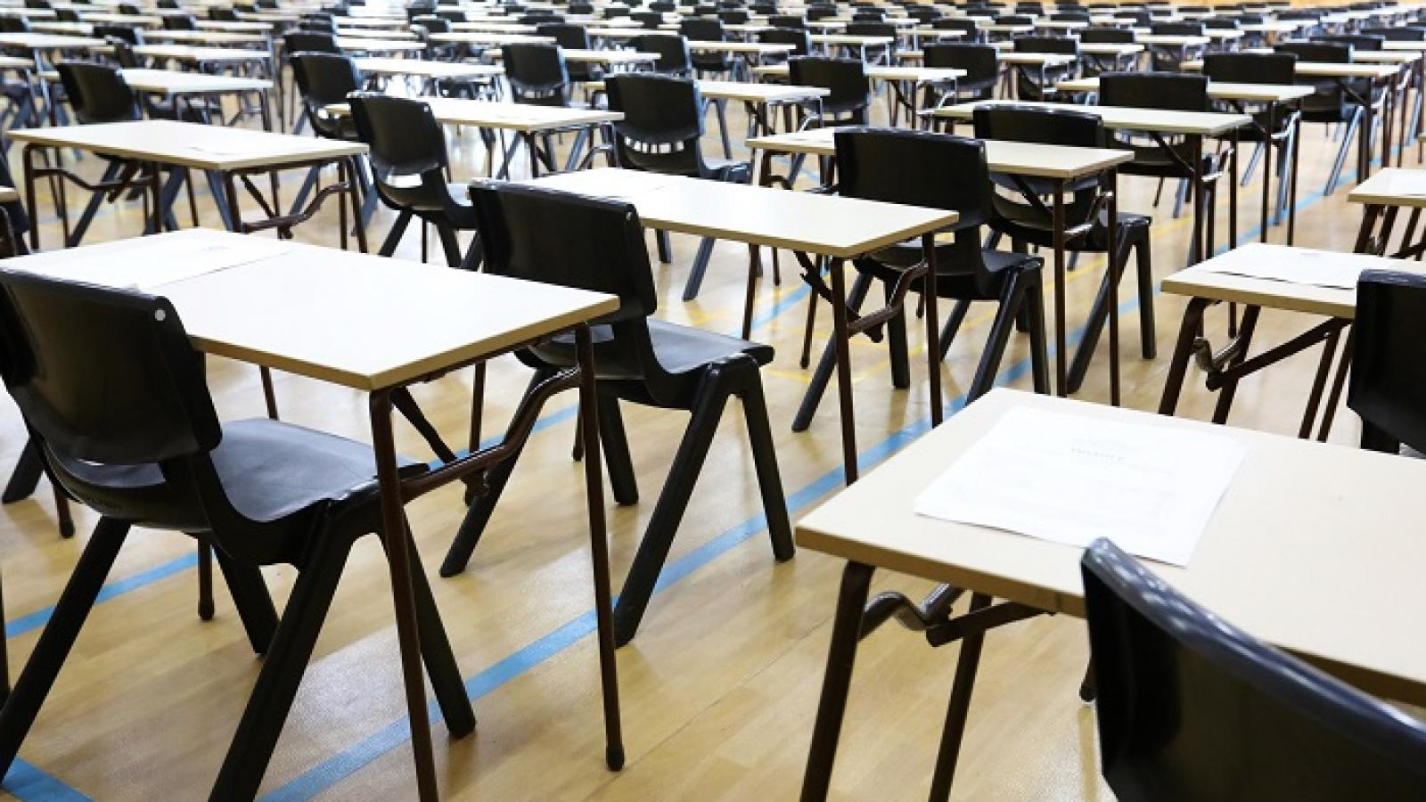Desks and chairs in an exam hall