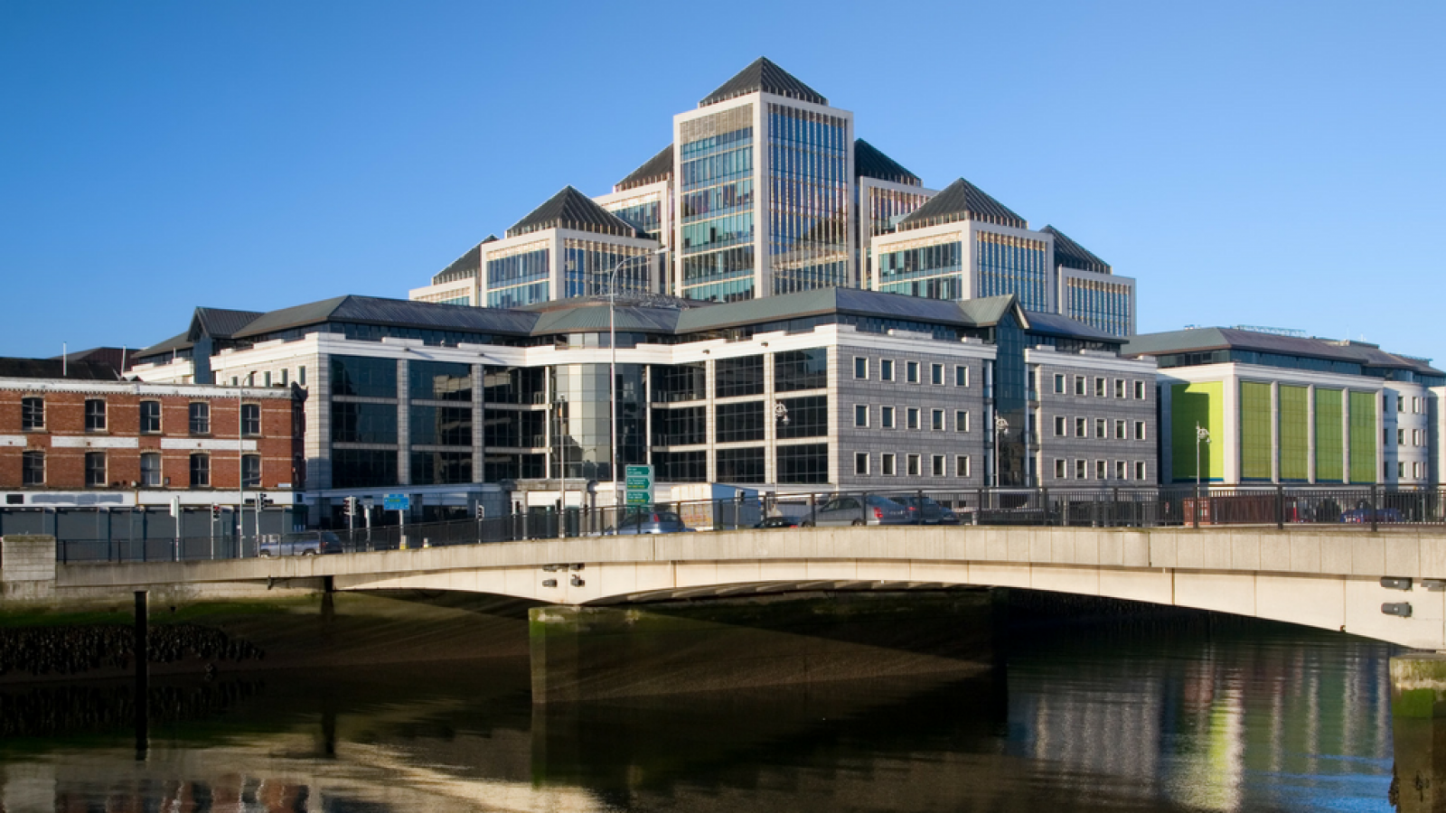 A shot of Dublin buildings taken across the river Liffey